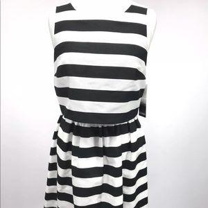 Kensie Dress Black White Striped Peplum